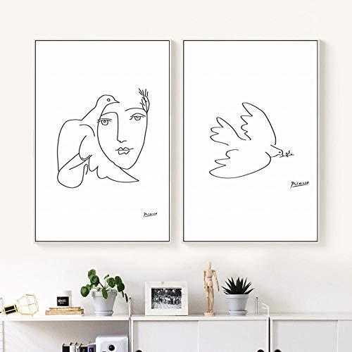 nobrand SNUMDQW Picasso Friedenstaube abstrakt Schwarz-Weiß-Linie Kunst Malerei Leinwand Druck Poster Bild Wand Wohnzimmer Home Decor-40x60cmx2p kein Rahmen