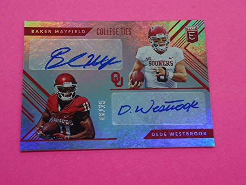 Dede Westbrook - Baker Mayfield 2018 PANINI ELITE COLLEGE TIES AUTO 8/25 Card #9 - Football Slabbed Autographed Rookie Cards