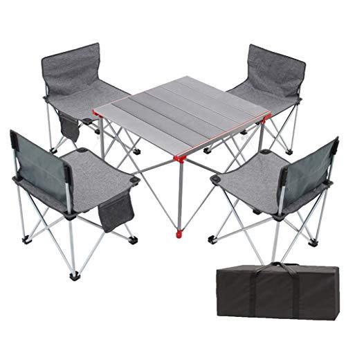 N/Z Tägliche Ausrüstung Klapptisch Höhenverstellbar Leichter tragbarer Camping-Tisch mit 200 kg 4 Stühlen mit Aufbewahrungstasche für Barbecue Camp Beach Hinterhöfe Lake BBQ Party