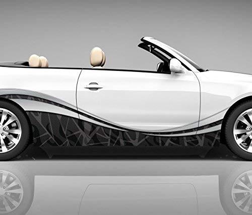 2x Seitendekor 3D Autoaufkleber Muster Welle Digitaldruck Seite Auto Tuning bunt Aufkleber Seitenstreifen Airbrush Racing Autofolie Car Wrapping Tribal Seitentribal CW113, Größe Seiten LxB:ca. 80x20cm