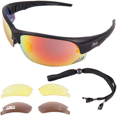 Rapid Eyewear Edge Schwarz Sport Sonnenbrille mit polarisierten Wechselgläsern für Männer und Frauen. Sportbrille mit Einstellbare Seitenarme. Getönte Gläser UV Schutz 400
