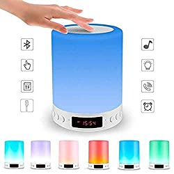 Smart Touch Lamp Rechargeable Table Lamp Dimmable LED Night Light with Wireless Bluetooth Speaker and Alarm Clock Screen, Multi-Color Changing