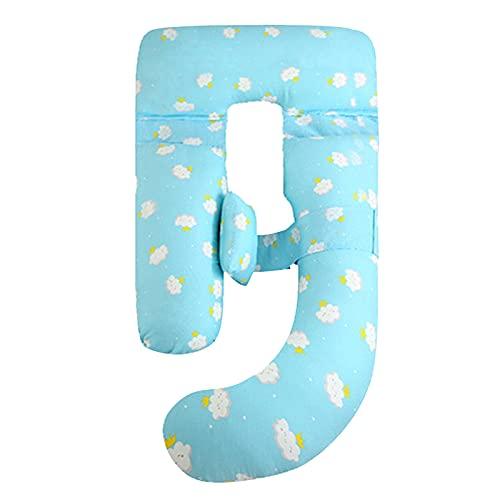 Almohada de embarazo, almohadas de maternidad de cuerpo completo de forma J con cubierta de terciopelo lavable 100% algodón para mujer embarazada de espalda, caderas, piernas, dormir y alimentación