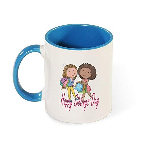 Promini Novelty Mok, Cartoon Sharing Interactie voor broers en zussen dag keramische mok, 11oz tweetonige lichtblauwe en witte mok, geschenken voor broers of zussen, grappig cadeau voor familie, koffie of thee mok
