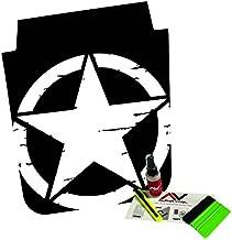 AlphaVinyl Jeep Wrangler Jk 2007-2016 Distressed Star Hood Blackout Freedom Star Matte Black with Install Kit