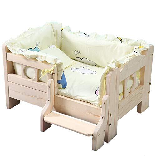 OO PET Green Dog Bed Holz, abnehmbar und waschbar, Zwinger Band Matratze, Leitplanke, Treppen für große Hunde und Welpen Hundemöbel Zubehör Zwinger