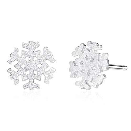 NiceButy Regalo de Navidad Mujeres del oído del copo de nieve pendientes Stud Baño de plata del copo de nieve del perno prisionero de la manera del invierno cubierto de nieve copo de ni