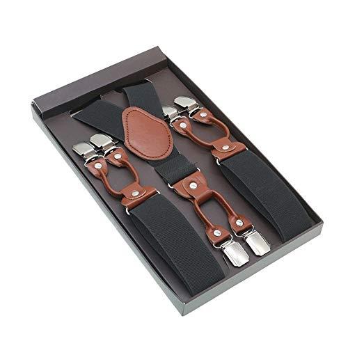 Koupany Man Shirt Suspenders Bruin Pu Leer 6 Clips Suspenders Western-Style Broek Man Braces Verstelbare Suspender
