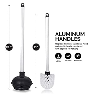 Neiko 60167A Toilet Plunger with Brush and Holder Combo Set, Aluminum Handle I Heavy Duty Cleaning