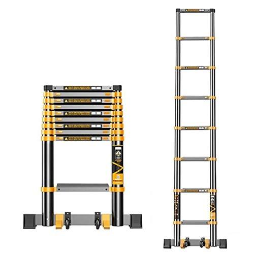 YXX-Teleskopleiter Leiter/Treppenleiter Hohe teleskopierbare Verlängerungsleiter mit Stabilisator und Rädern, tragbare ausziehbare Faltbare Leiter für Dachzelt auf dem Dach (Size : 5.9m/19.3 ft)