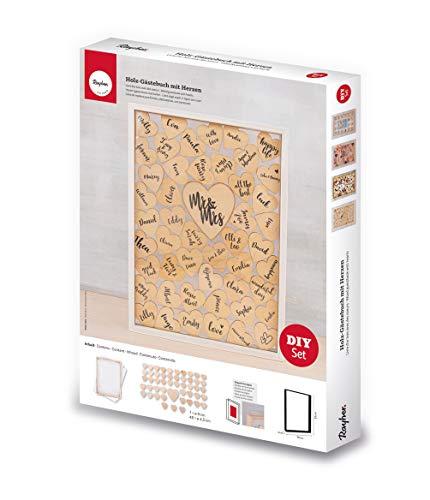 Rayher Libro Ospiti Legno con Cuori, FSCMix Cre, Naturale, 35x26x4cm