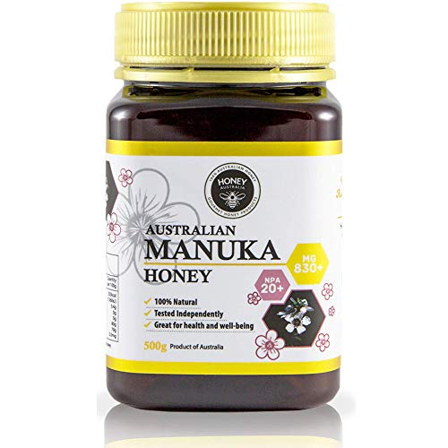Honey Australia Premium Manuka Honey - Raw Pure MGO 830+ NPA 20+ Wonderful Rich Tasting Medicinal Grade Certified Manuka Honey For Everyday Health & Wellbeing 17.6 Oz / 500 g