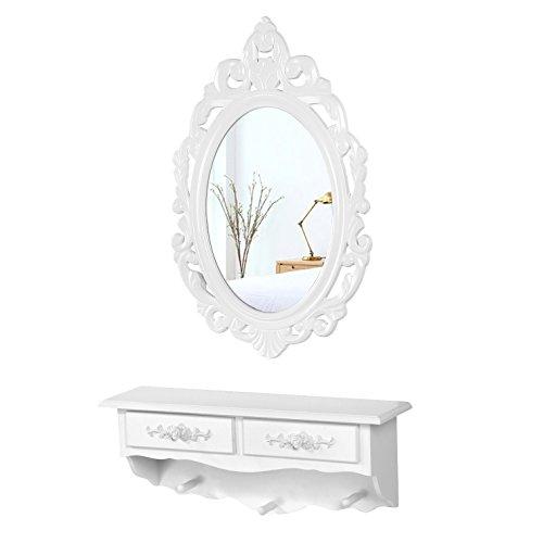 SONGMICS Mini Tocador de Pared, con 1 Espejo Ovalado y 2 Cajones, Mesa de Maquillaje, Blanco RDT16W