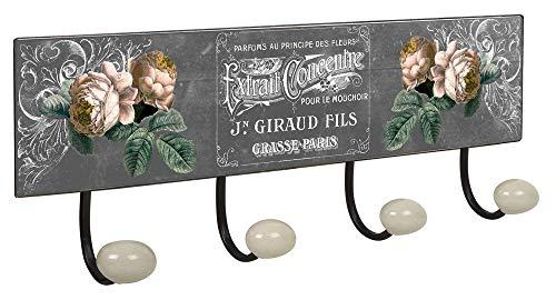 Lashuma Appendiabiti da parete, serie Paris, per soggiorno, in metallo, 1 gancio per cappello, 4 appendiabiti