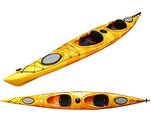 Zweier Kajak Kajak 2er Tourenkajak Seekajak Double-Flash mit Pedalen und Steuer, Farbe:Rot-Orange-Marmoriert, Ausstattung:Mit Ruder