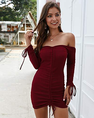 fixiyue Otoño/Invierno Pit Strip Sexy Bag-Hip Vestido de Manga Larga Falda Larga Mujeres Moda Color sólido Media Cintura XL Licor Rojo