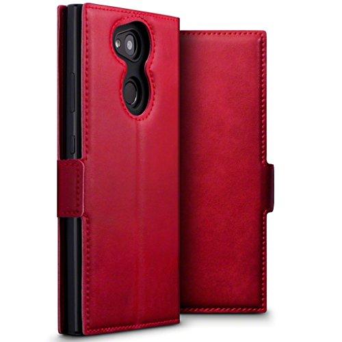 TERRAPIN, Kompatibel mit Sony Xperia L2 Hülle, ECHT Leder Börsen Tasche - Ultra Slim Fit - Betrachtungsstand - Kartenschlitze - Rot