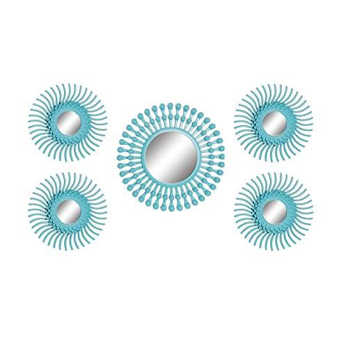 Hogar y Mas Espejos de Pared Redondos Decorativos, Estilo Glam, Set de 5 Espejos 50x2x50 cm - Azul