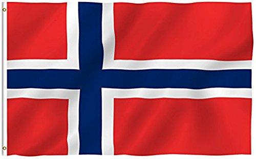 Bandera de Noruega Bandera de poliéster DE 5 * 3 pies/150 * 90 cm Ideal para Exteriores e Interiores Bandera Noruega Grande