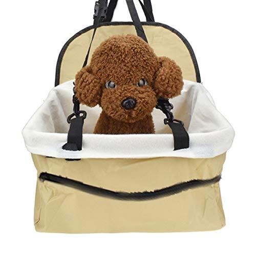 REQU Portable Pet Car Seat Foldable Dog Car Booster Seat Pet Car Basket for Small Pets Dogs Cats Pet Supplies(Beige)
