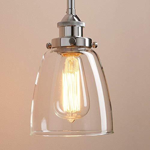 Lightess Lámpara Colgante 40W Lámpara Industrial Luz Colgante Lámpara de Techo Estilo Vintage Luz Retra Luz de Cristal Transparente Casquillo E27, Color Cromo (modelo 3)