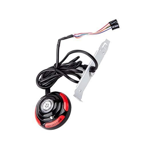 heacker Caso de PC de Escritorio del Ordenador Fuente de alimentación de Encendido/Apagado Interruptor de restablecimiento Botón Redondo Grande con 1,6 m de Cable