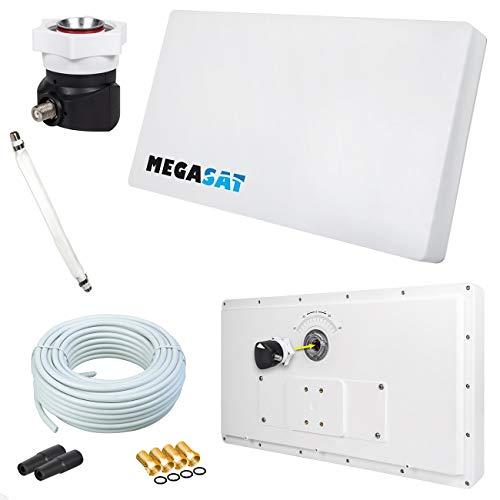 Megasat Flachantenne PROFI Line H30 D1 Single inkl. Fensterhalterung + 10m Kabel + 1x Fensterdurchführung. Neueste Generation mit besten Empfangswerten für HD und SD TV (einfache und stabile Montage)
