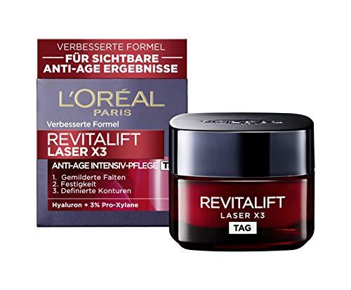 L'Oréal Paris Revitalift Laser X3 Tagescreme mit Hyaluronsäure, Hyaluron Anti-Age Gesichtscreme, 3-fach Anti-Aging Wirkung, straffe Haut und gemilderte Falten, 50ml