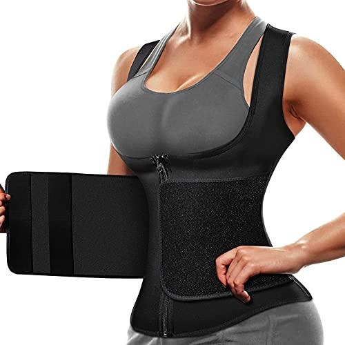 Waist Trainer for Women Workout Tops Sauna Suit Sweat Vest Compression with Zipper