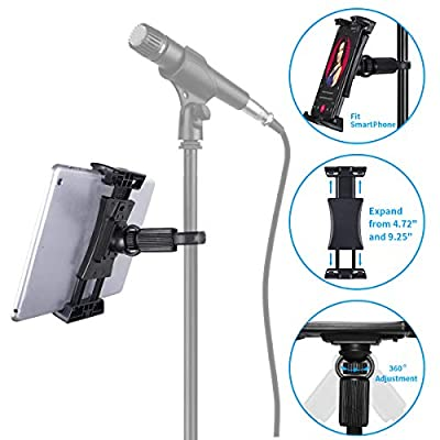 "Tablet Mounts for Microphone Stands, Tensun Microphone Tablet Holder, Mic Music Stand Mount for iPad, iPad Pro, iPad Mini, 2, 3, iPad Air, iPhone Smartphone 4.7-12.9"" Tablets"