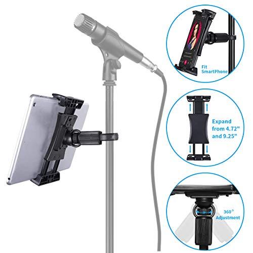 Tensun Tablet Halterung für Mikrofonständer, 360 Grad Drehung Mikrofon Musikstand kompatibel mit iPad, iPad Pro, iPad Air, Google Nexus Samsung Galaxy