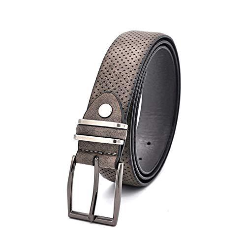 GTUQ Cinturón Moda Casual Moda Jean cinturón Pistola Metal Hebilla Punto Estilo Estilo Dividir Cuero Hombres Vestir cinturón Gris Oscuro Adecuado para Pantalones Casuales, Ropa Formal.