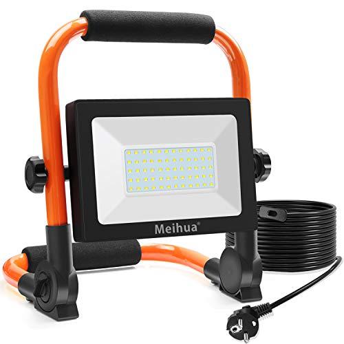 MEIHUA Luz de Trabajo Plegable 60W, Foco LED Portátil Exterior, IP66 Impermeable,...