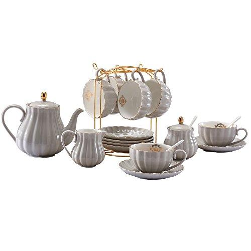 Lieras - Juego de té de porcelana de la serie Royal Británica, 8 tazas y platillo de servicio para 6, con tetera, azucarero, jarra de crema, cucharillas y colador de té para te/café, Pukka Home gris