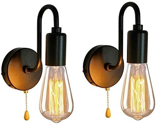 SYyshyin Lámpara de pared industrial 2pack, lámpara de pared retro vintage con interruptor de cordón Edison E27 Lampenfussung lámpara industrial con soporte de metal para Home Bar dormitorio tipo loft