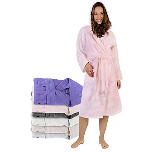 Twinzen Bademantel Damen - L - Rosa - 100% Baumwolle (350g/m²) OEKO-TEX® Zertifiziert - Bademantel mit Kapuze, 2 Taschen, Gürtel