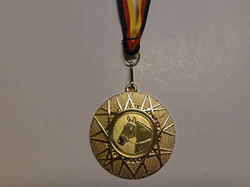 20 x Medaillen aus Metall 50mm - mit Einem Emblem - Reiten - Pferd - Pferde - Dressur - inkl. Medaillen - Band Farbe: Gold - Emblem 25mm - (e225) -