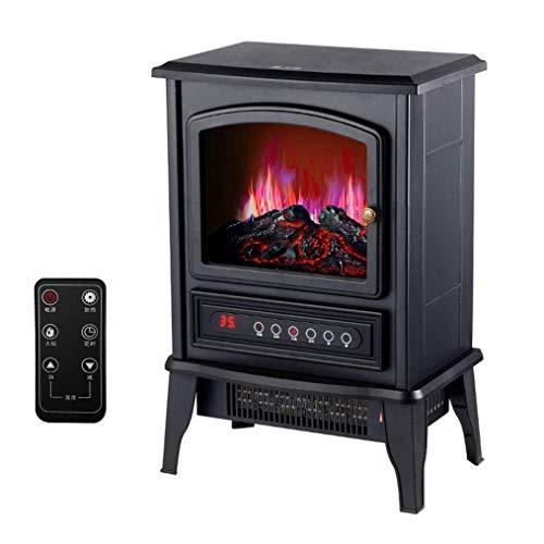 Calefactor Chimenea eléctrica Pequeño Protable invierno Calentador Silencio independiente Chimenea calentamiento rápido portátil con 3D Wood Burning 2000W for la tienda de la sala de estar dormitorio