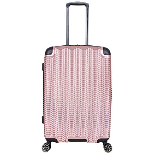 Kenneth Cole Reaction Wave Rush 24' Lightweight Hardside 8-Wheel Spinner Expandable Checked Suitcase, Rose Gold