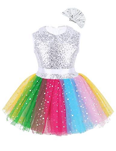 iixpin Mädchen Pailletten Tanz Kleider Mädchen Regenbogen Tutu Rock Tüllrock mit Haarspange Festlich Party Performance Karneval Kleidung Bunt 140-146
