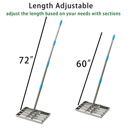 MIYA Level Lawn - 6FT Lawn Leveling Rake with Stainless Steel Pole - Heavy Duty Soil Lawn Leveler Tool for Yard Golf