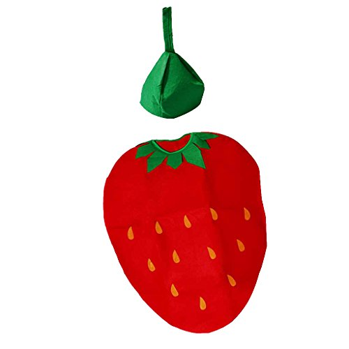MagiDeal Kinder Obst Kostüm Karneval Fasching Kostüme Halloween Cosplay Party Bekleidung - Erdbeer