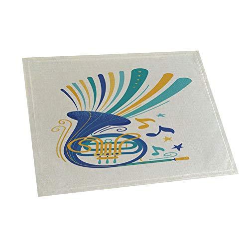 Laputa 42x32cm Instrumento Musical Imprimir Aislamiento Térmico Mantel Individual Antideslizante Coaster Pad Suministros De Decoración del Hogar 7#