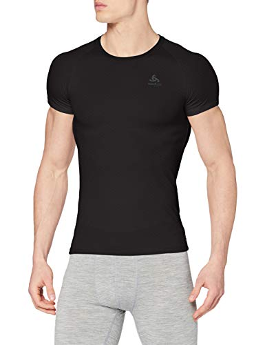 Odlo Herren BL TOP Crew neck s/s ACTIVE F-DRY LIGHT Unterhemd, Black, 3XL