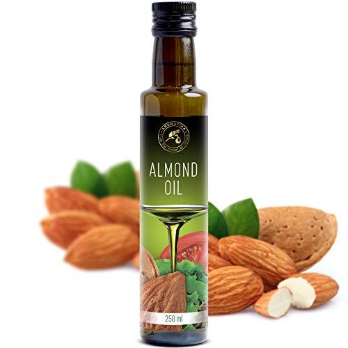 Aceite de Almendras Dulces 250ml - Refinado - Italia - 100% Puro y Natural - Aceite de Almendra Comestible Natural los Mejores Beneficios para Cocinar - Botella de vidrio - Almond Oil