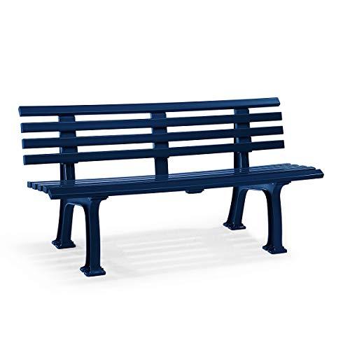 Parkbank aus Kunststoff - mit 9 Leisten - Breite 1500 mm, stahlblau - Sitzbank Gartenbank Ruhebank Bank für Außenbereich UV- und witterungsbeständig PVC Bank