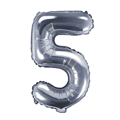 DekoHaus Folienballons Buchstaben / Zahlen Höhe 35 cm Farben: Gold oder Silber (5, Silber)