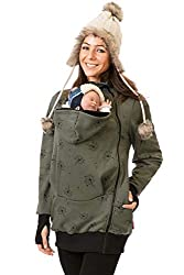 GoFuture Damen Tragejacke für Mama und Baby Känguru Klassiker SWEATSTOFF Verschiedene Modelle (M, Olivegrün mit schwarzen Pusteblumen Viva)