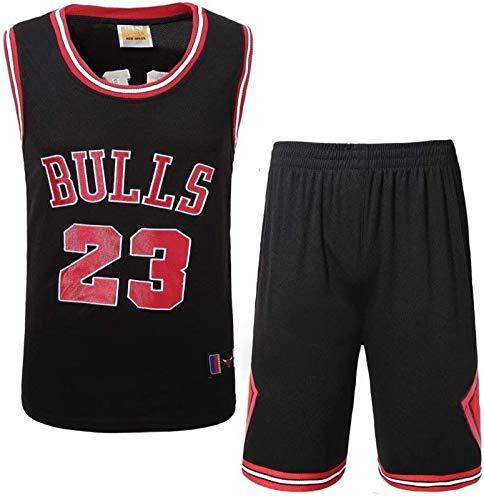 CCET Jersey Mann Männer Trikots Basketball Set - Michael Jordan Chicago Bulls NBA Basketball-Trikot Nr.23 gesticktes Hemd Weste Sommer-Kurzschlüsse, Größe (Color : Black, Size : M)