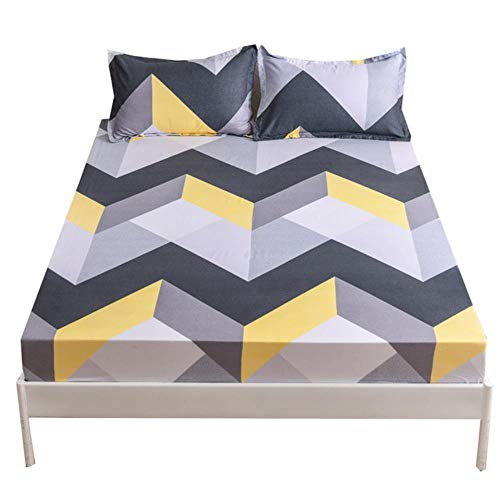 UKUCI 14 Designs Bed Sheets Geometric Printed Fitted Sheet With Elastic cotton blend Polyester Mattress Cover Single Queen King Size,D,150x200cmx25cm